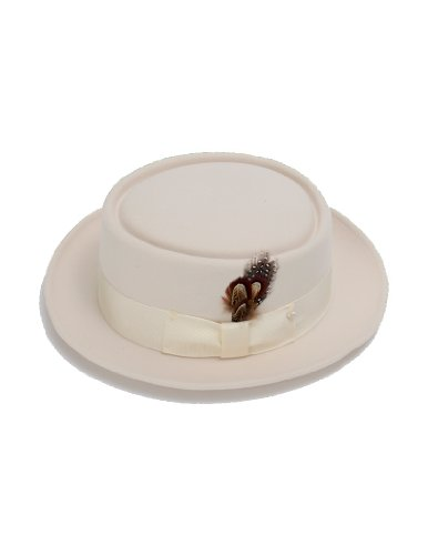 [New Mens 100% Wool Cream (Off-White) Porkpie (Pork Pie) Hat] (40s Mobster Costumes)