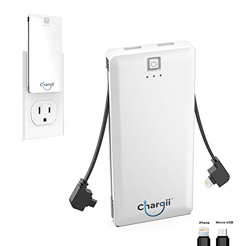 Chargii | Apple Power Bank | All-in-One Portable Charger | Cell Phone Battery Backup | Built-in Wall Plug AC Adapter, Apple & Micro USB Cables | 2 USB Ports | 5000 mAH | White