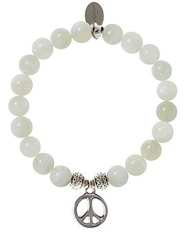 EvaDane Natural Moonstone Gemstone Tibetan Bead Peace Sign Charm Stretch Bracelet - Size 7 Inch ( 1_MOO_S_T_PEA_7)