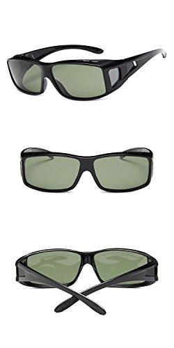 Shield Glossy (Nuni Unisex Rectangular Frame Side Shield Fit Over Polarized Sunglasses (Glossy Black, G15-green))