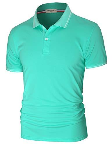 Derminpro Men's Polos Short Sleeve Slim Fit Button Closure Classic Pique Polo T-Shirts Light Blue Large
