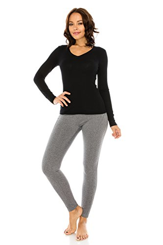 The Classic Woman's Basic Kint V-Neck Loose Fit Long Sleeve Thermal T Shirt Top in Black - Small