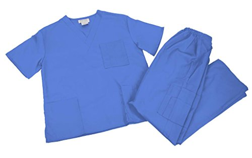 (PETITE NATURAL UNIFORMS Women Scrub Set Medical Scrub Top and Pants XS Ceil Blue)