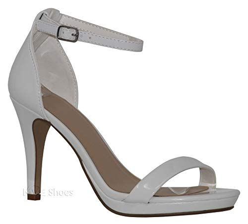 MVE Shoes Women's Open Toe Ankle Strap High Heels-Stiletto Dress Pumps - Single Band Sexy Party Shoes, TOUCHUP White PAT 8