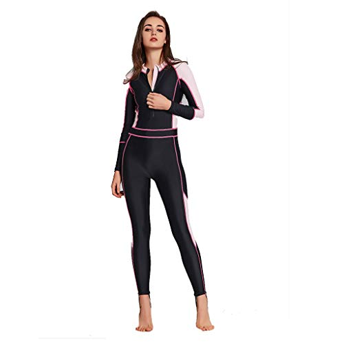 Pandaie Women's Wetsuit Full One Piece Swimsuit Long Sleeve Surfing Diving Suit Sun Protection