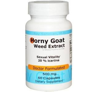 2 Bottles Horny Goat Weed - Male Performance Aphrodisiac for Men Extract - 500mg, 60 Capsules, 20 Percent Icariin - Endorsed by Dr. Ray Sahelian, Author of Natural Sex Boosters