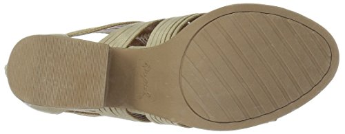 Qupid Women's Wood Heeled Sandal Stone Distress Polyurethane 1rFY9jFNtD