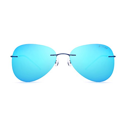 FONEX Women Rimless Memory Alloy Sunglasses Aviation Polarized Sun Glasses 20008 (blue, - Aviation Sunglasses