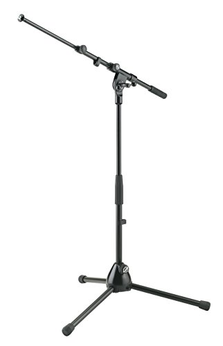 K&M Tour Grade Low Tripod Mic Stand with Adjustable Telescoping 18-30 inch Boom. Height 16-25 inches by K&M