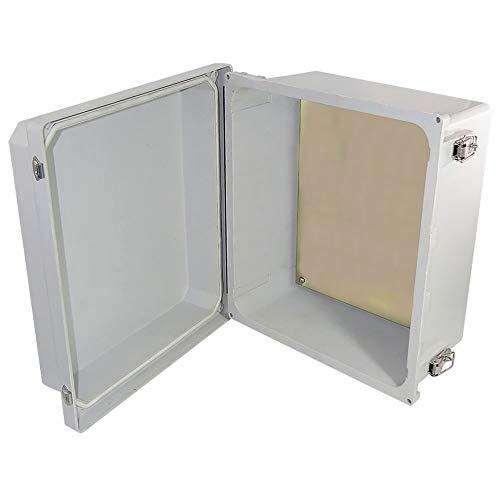 Altelix 14x12x8 FRP Fiberglass NEMA 4X Box Weatherproof Enclosure with Aluminum Equipment Mounting Plate, Hinged Lid & Stainless Steel Latches ()