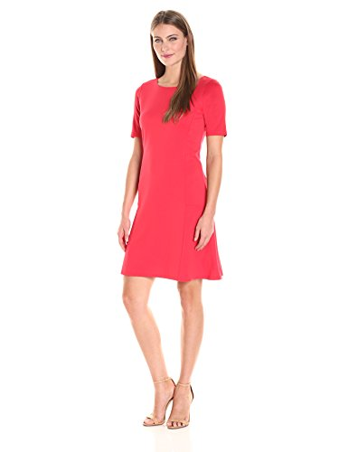 Ellen Tracy Women's Size Elbow Sleeve Flounce Dress, Tomato Red, Petite (Red Petite Tomato)