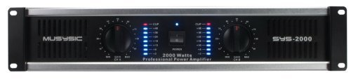 2 Channel 2000 Watts Professional Power Amplifier 2U Rack mount SYS-2000 MUSYSIC (Professional Amplifier Power Rackmount)