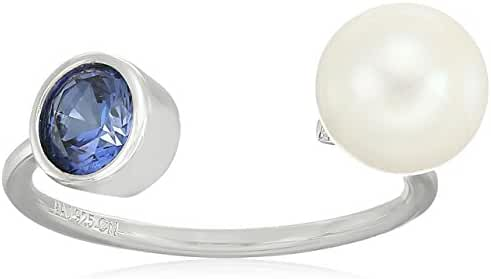 Sterling Silver Genuine Peridot 5mm European Bezel-set and Genuine White Pearl 7.5-8mm Open Adjustable Ring, Size 7