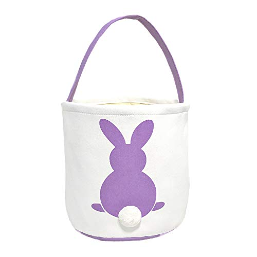 - MONOBLANKS Easter Bunny Basket Bags for Kids Canvas Cotton Carrying Gift and Eggs Hunt Bag,Fluffy Tails Printed Rabbit Canvas Toys Bucket Tote (Purple)
