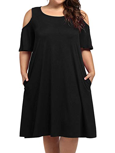 Lady Plus Size Beach Midi Dresses,kissmay Women's Off Shoulder Floral Casual T-Shirt Tropical Dress with Pocket Round Neck Flattering Dress for Office Work Cocktail Party Fat Women Feminine Black 18W