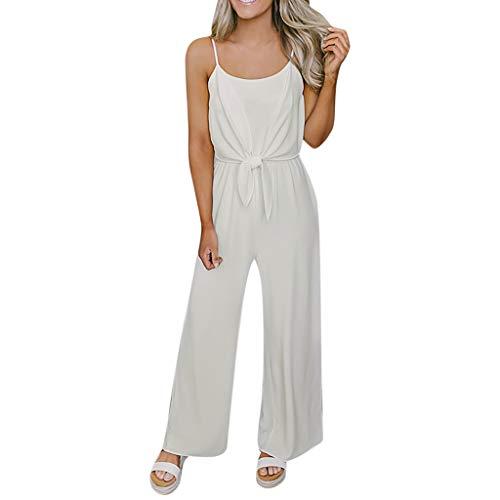 (Transser Women's Plain Scoop Neck Tie Front Sleeveless Pantsuit Summer Casual Spaghetti Strap Long Jumpsuit Rompers)