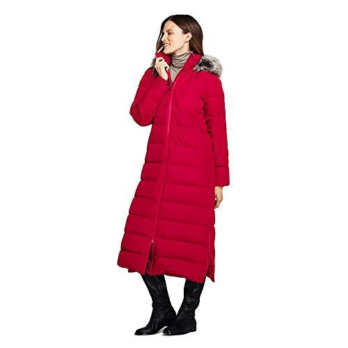 Lands' End Women's Petite Winter Long Down Coat with Faux Fur Hood, XS, Rich Red Faux Fur