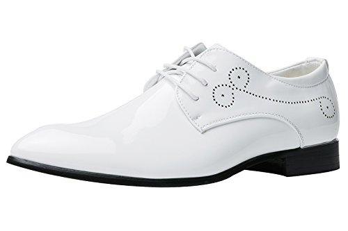 Santimon Dress Shoes for Men Pointed Toe Classic Patent Leather Lace Up Oxford White UK 7.5