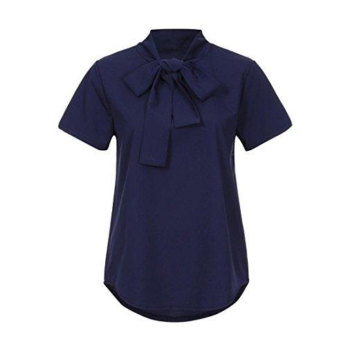Rcool collo manica donne Navy massimo solido casuale della camicetta al rpSrxwZq