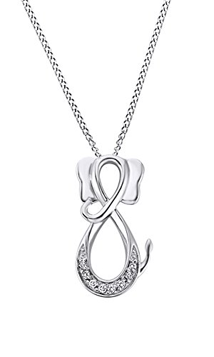 AFFY White Natural Diamond Infinity Elephant Pendant Necklace in 14k White Gold Over Sterling Silver (0.1 ()