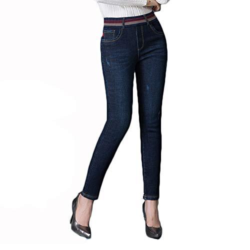 ZOXO Women's Fleece Lined Pants Stretch Skinny Winter Warm Flannel Lined Jeans Drak Blue Medium