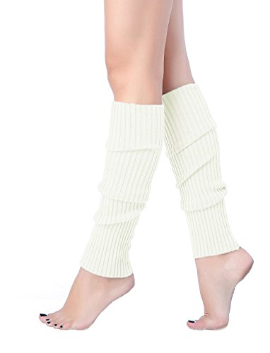 V28 Women Juniors 80s Eighty's Ribbed Leg Warmers for Party Sports (one size, Pure -