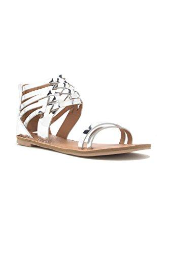 Genx Donna Casual Cinturino Alla Caviglia Cage Strappy Flats-sandalo Athena-1206 Argento
