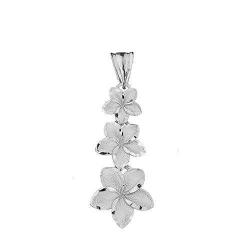 - Elegant 14k White Gold Hawaiian Plumeria Flowers Charm Pendant