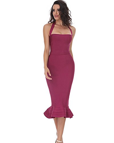 Halter Neckline Sleeveless - Whoinshop Women's Halter Sleeveless Mermaid Bodycon Bandage Cocktail Midi Dress Wine M