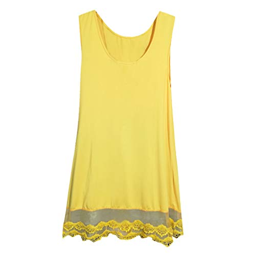 - Xinantime Women Solid Color Sleeveless Lace Hem Blouse Layered Scoop Neck Tunic Loose Fit Dress Yellow