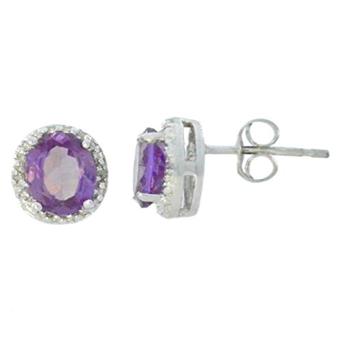 Created Alexandrite & Diamond Round Stud Earrings 14Kt White Gold & Sterling Silver Alexandrite White Gold Bracelets