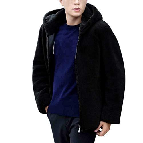 Schwarz Coat Fur Zipper Similar Fur Apparel Rcool Coat Outerwear Long Coat Jacket Hooded with Men Sleeve Winter Faux wTfFqpB