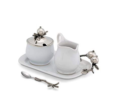 Vagabond House Pewter Pomegranate Stoneware Creamer Set