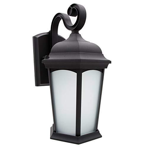 Maxxima LED Outdoor Wall Light, Porch Lantern Black w/Frosted Glass, Photocell Sensor, 700 Lumens, Dusk to Dawn Sensor, 3000K Warm White [並行輸入品] B07RBPDF44