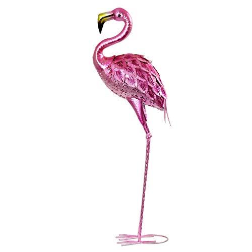(Exhart Metallic Flamingo Garden Statue - Hand-Painted Flamingo Metal Statue in Metallic Pink Made with UV-Treated Metal Design - Metal Flamingo Home Décor, Indoor and Outdoor Ornament, 36 Inches)