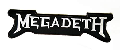 """13.5"""" X 4"""" Large Big Patch White Black Megadeth Music Band Logo Jacket t-Shirt Jeans Polo Patch Iron on Embroidered Logo Motorcycle Rider Biker Patch by Tour les jours Shop"""