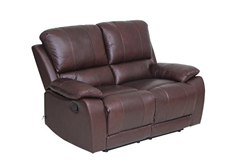 VIVA HOME Classic and Traditional Top Grain Leather Sofa Set Loveseat with Overstuff Armrest/Headrest, 2 Seater, (Leather Sectional Top Grain)