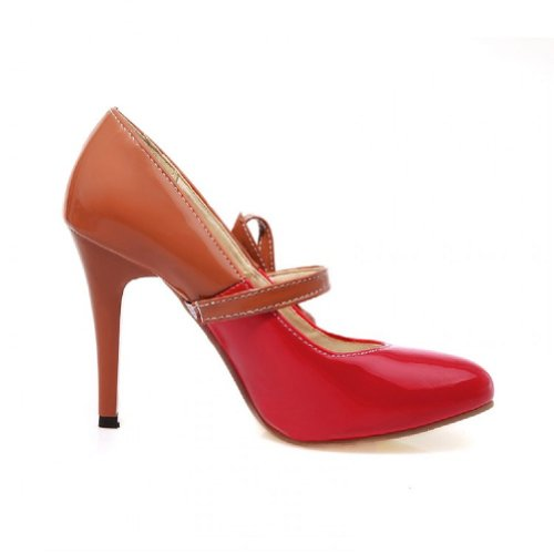 Charme Voet Mode Dames Hoge Hak Mary Jane Pumps Schoenen Rood