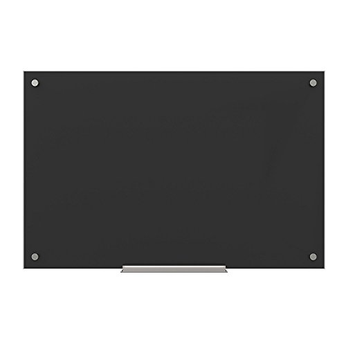 U Brands Glass Dry Erase Board, 35 x 23 Inches, Black Surface, Frameless (Erase Squares Dry)