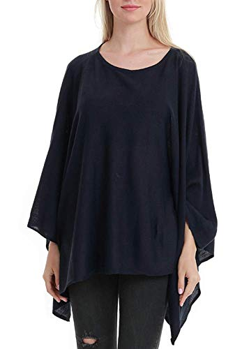 Women's Elegant Solid Knit Poncho Topper Oversize Sweater Pullover Cape Navyblue