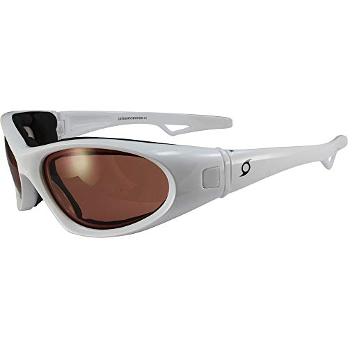 Hurricane Category-5 White Jet Ski Water-Sport Floating Goggles with Driving Mirror Lens Interchangeable Sunglasses to Goggles