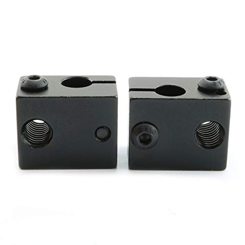 (Ruiling 2PCS Black E3D V6 Extruder Aluminum Heat Block Sandblasting Oxidation Treatment Heater Block 3D Printer)