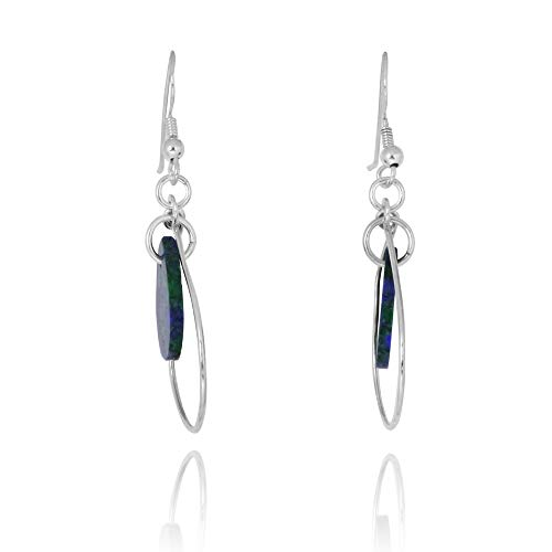 Sterling Silver 925 Thin Teardrop French Wire Earrings with Teardop Azurite ()
