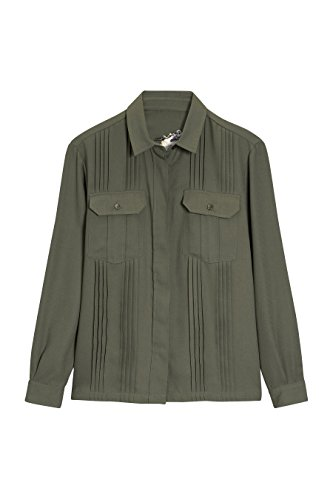 next Mujer Camisa Bordada Manga Larga Dos Bolsillos En El Pecho Estilo Casual Verde