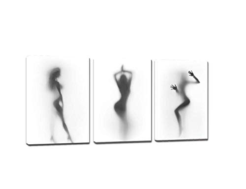 3 Pieces Black and White Wall Art for Bedroom Living Room Bathroom Sexy Nude Woman Canvas Painting Naked Girl in The Shower Hazy Shadow Picture Modern Abstract Poster Artwork Home Decor (60