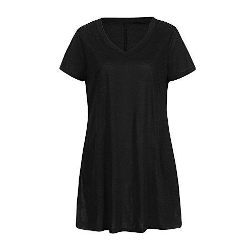 iLUGU V Neck Short Sleeve Mini Dress for Women Pleated Dress Long Blouse Formal Dresses