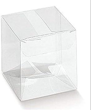 50 Piezas Caja PVC Transparente 10X10X10 cm Titular de la Almendra de Detalle: Amazon.es: Juguetes y juegos