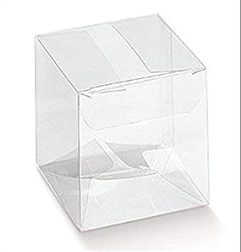 50 PIEZAS Caja pvc transparente 10X10X10 cm bolsas para peladillas para DETALLE