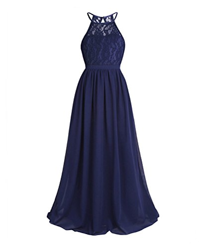 YiZYiF Kids Big Girls Halter Chiffon Lace Wedding Flower Girl Dresses Evening Prom Maxi Dance Party Gowns Navy Blue - Halter Fancy