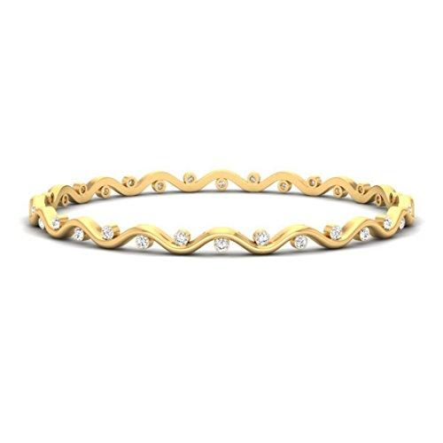 Or jaune 18K, 1,25ct tw Round-cut-diamond (Ij| SI) Bangle-bracelets